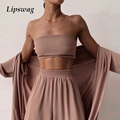 Sexy Women Three Piece Sets Fashion Casual Wrap Solid Tops And Wide Leg Pants Suits Homewear Elegant Soft Female 3 Piece Outfits