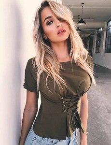 Image 3 - 2019 חדש אופנה נשים T חולצה מקרית רצועת על חולצה, קצר מעיל, תחתון חולצה בגדים