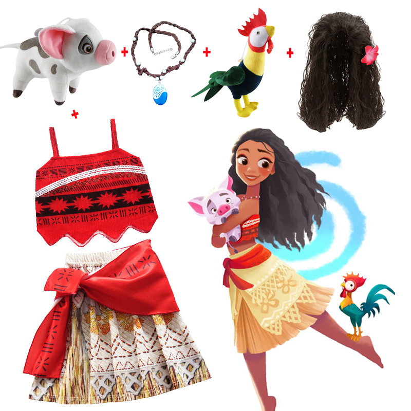 Kids Girl Princess Party Dress Moana Adventure vaiana Clothing Girls Dress Set with wig and Necklace baby Vaiana Cosplay Clothes