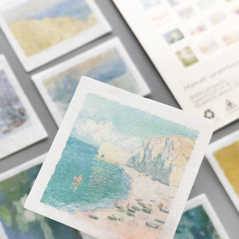 50 pcs/lot monet impression Journal Decorative Stickers Scrapbooking Stick Label Diary Album painting stationery Stickers