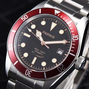 Image 2 - Parnis relógio masculino de pulso, 41mm, miyota, movimento mecânico automático, aço inoxidável, luminoso, marca de luxo, sapphire, cristal, relógio de pulso, homens