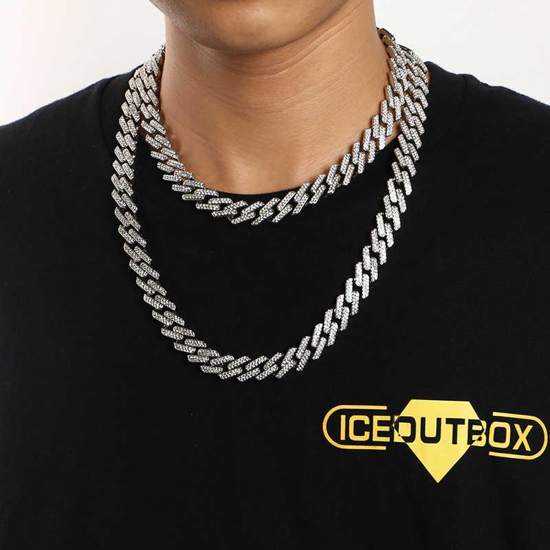Miami Curb kubański łańcuch mężczyźni Hip Hop naszyjnik pełen Rhinestone złoty i srebrny łańcuszek Iced Out Bling Punk Style biżuteria Dropshipping