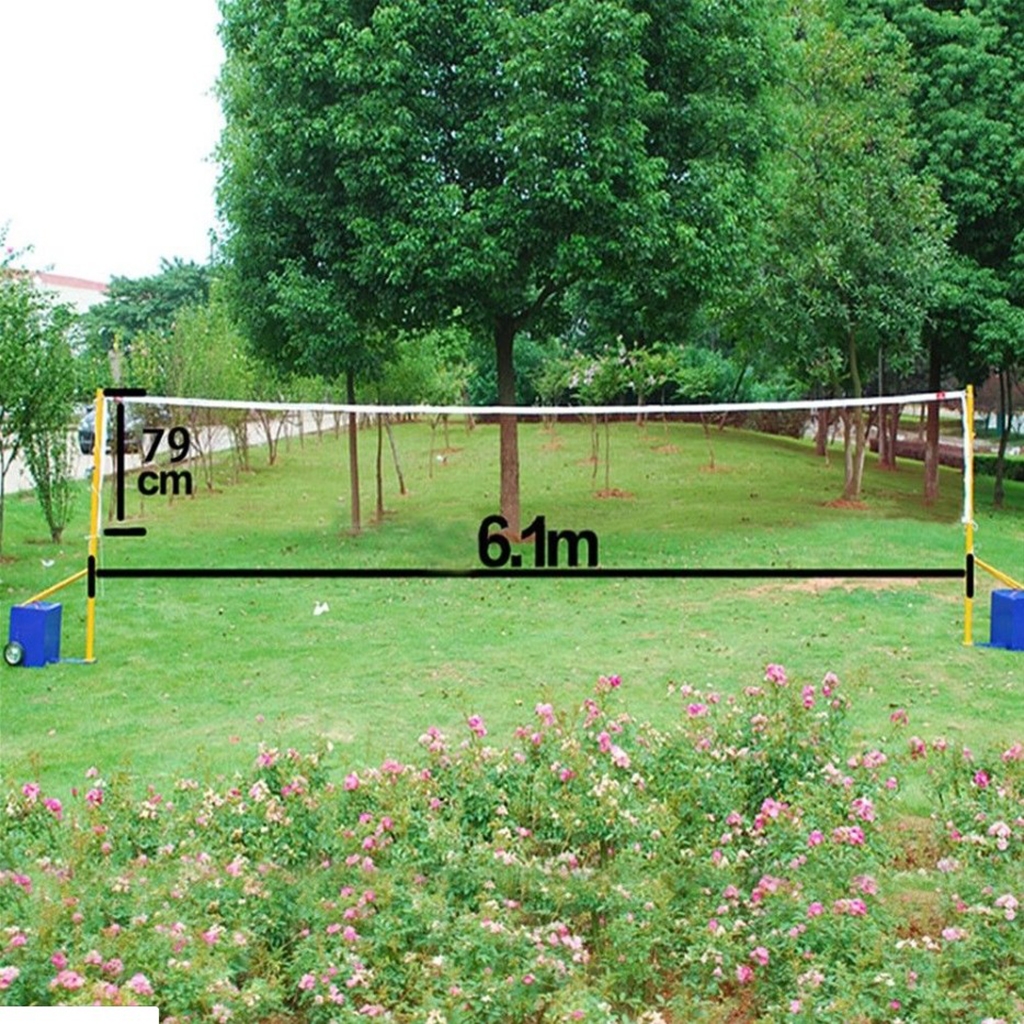 Badminton Net Outdoor Garden Badminton Net 3/m Collapsible Shuttlecock Net with Frame Stand and Carrying Bag