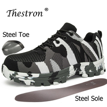 Fashion Safety Boots Steel Toe Anti-slip Anti-smashing Wilderness Survival Work Men Shoes