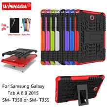 Untuk Samsung Galaxy Tab A 8.0 2015 Case Tab5 8.0 SM-T350 T355 Tablet Armor Case Silicone TPU + PC Shockproof Stand Cover + Film + Pen(China)