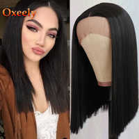 Oxeely Black Short Bob Straight Wig Synthetic Lace Front Wigs Glueless with 50% Yaki Hair Heat Resistant for Fashion Black Women