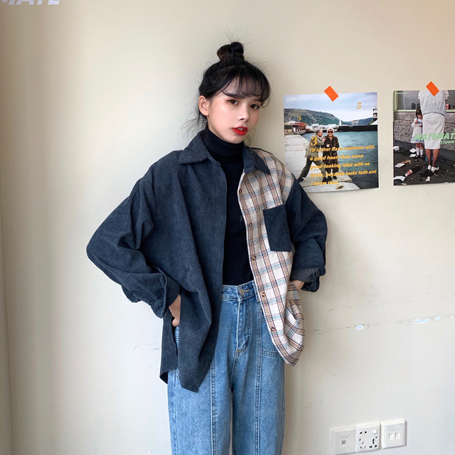 harajuku corduroy blouse women long sleeve autumn new tops and blouses casual vintage streetwear cargo shirts camisas mujer 3