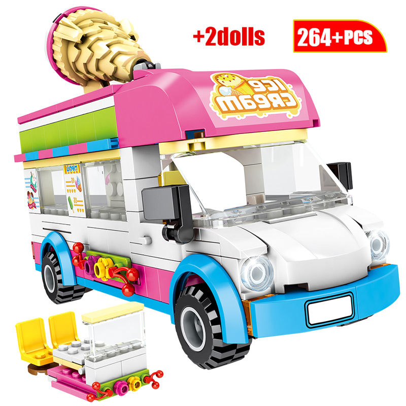 City Ice Cream Car Model Building Block For  Friends City Street View Ambulance Truck FiguresBrick Toys For Children