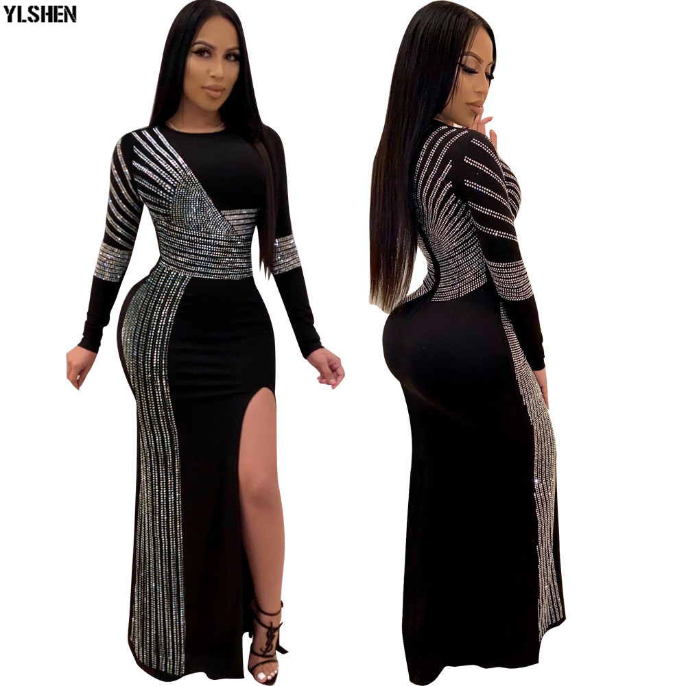 4 Colors Africa Dress African Dresses For Women New Style Red Black Diamond Long Sleeves Bodycon Daily Dress Evening Party Dress