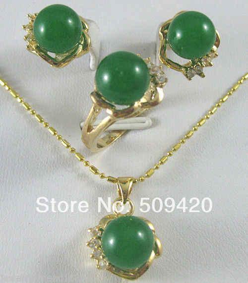 משלוח חינם סיטונאי>>> חדש ירוק ירקן שחור אגת עגילים וטבעת ושרשרת תליון סט AAA