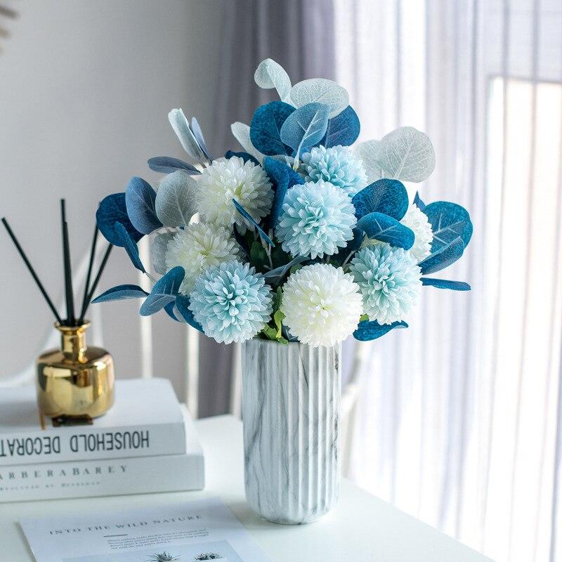 Искусственный эвкалипт с хризантемой, букет цветов, декоративные шарики, хризантемы, вазы для домашнего декора, домашние горшки
