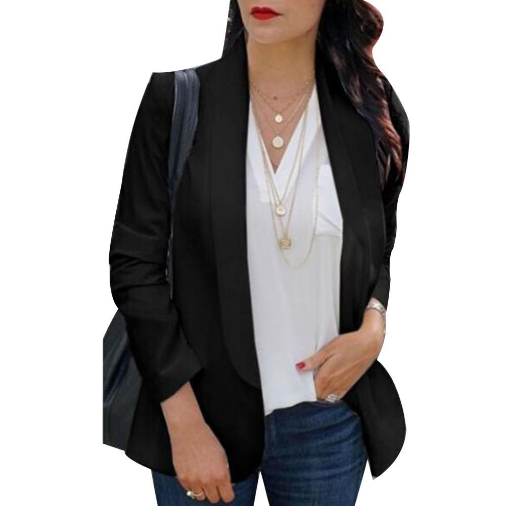 Fashion Simple Women Blazer Office Lady Solid Color Lapel Long Sleeve Blazer  Suit Coat Jacket For Women Blazer