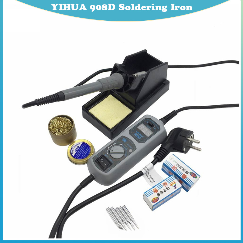 Original High Quality 220V 110V YIHUA 908D Soldering Iron Temperature Adjustable Electric Welding Soldering Iron with 5tip stand