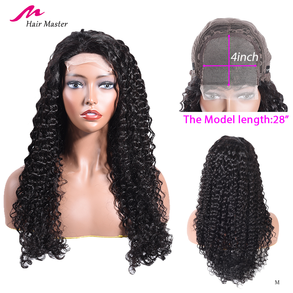 Hair Master 4*4 Deep Wave Lace Front Human Hair Wigs Peruque Femme Naturel 10-28 Inch Brazilian Remy For Black Women
