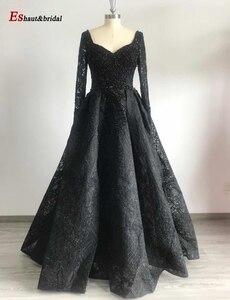 Image 3 - Cömert Dubai akşam elbise kadınlar için 2020 uzun kollu Aline lüks v yaka kristal el yapımı dantel arapça balo örgün parti kıyafeti