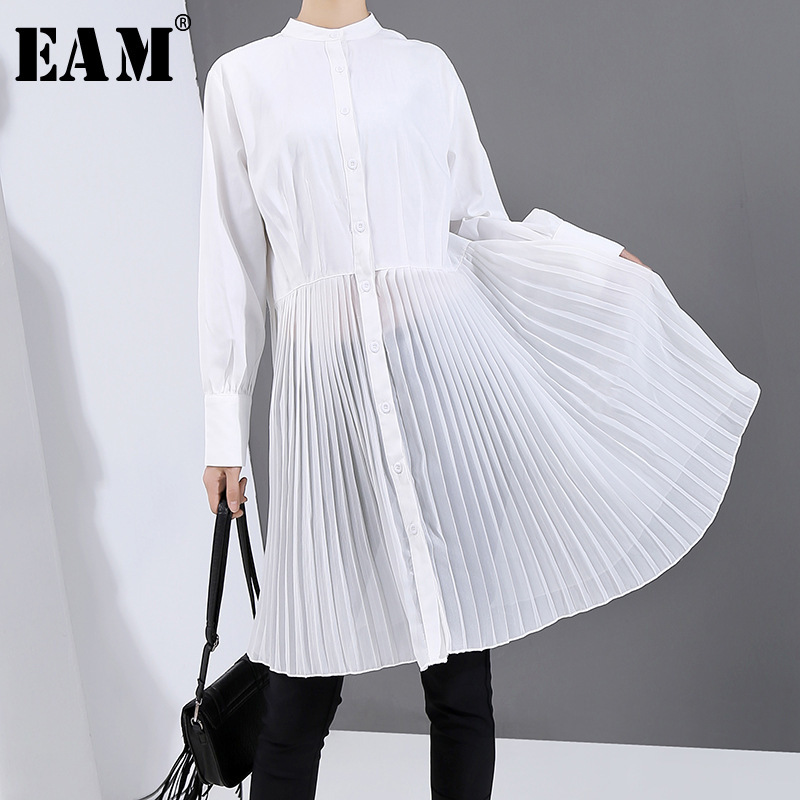 [EAM] Women Black Brief Pleated Split Shirt Dress New Lapel Long Sleeve Loose Fit Fashion Tide Spring Autumn 2020 1N823