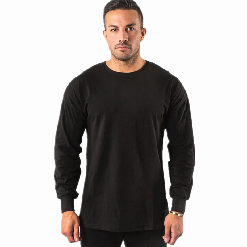 2019 Autumn New Mens t-shirt Long Sleeve O-Neck Shirt Fashion Cotton Casual Tees fitness Bodybuilding clothing Joggers Tops
