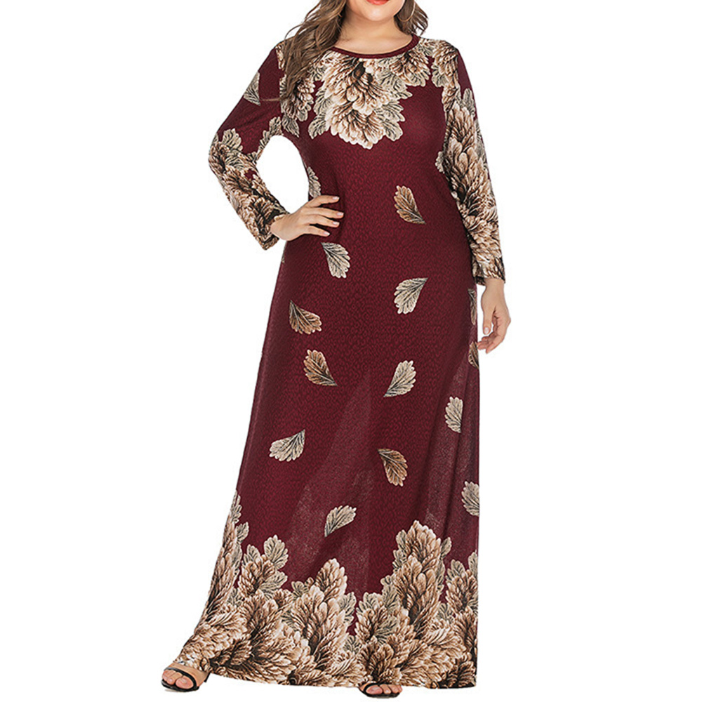 Abaya Jilbab Muslim Maxi Dress Foral Print Red Plus Size Kaftan Long Dress Vintage Fashion Islamic Clothings Long Robe 5XL