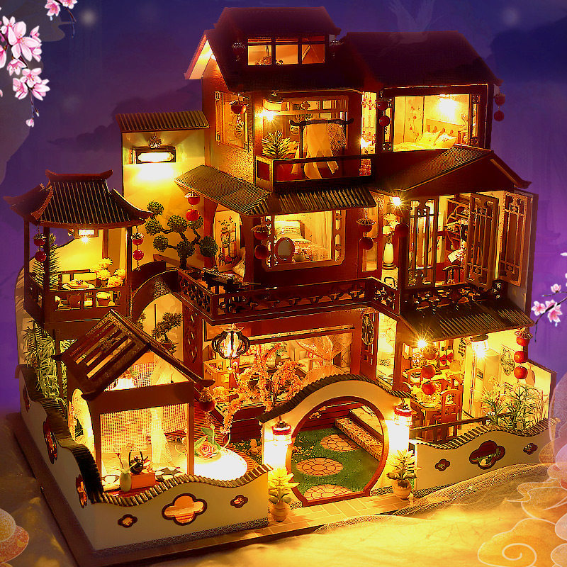 DIY Wooden Dollhouse Miniature Building With Furniture Accessories Adult Assemble Chinese Villa Kits Doll House Toys Gifts Casa