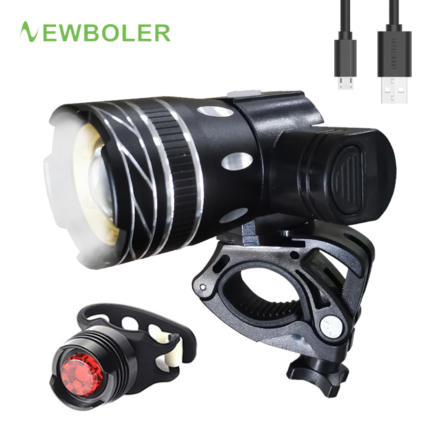 NEWBOLER 5000mAh Bicycle <font><b>Light</b></font> <font><b>Set</b></font> T6 <font><b>USB</b></font> Rechargeable Battery Adjustable Zoom <font><b>Bike</b></font> Front Headlight Cycling Lamp with Taillight image