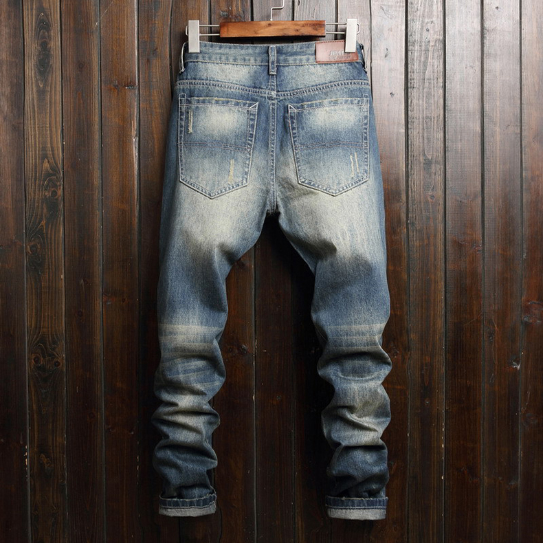 KSTUN Ripped Jeans for Men Straight Fit Street wear Hip hop Pants Men's Biker Jeans Washed Distressed Trousers 12