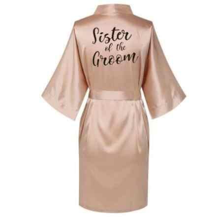 Champagne Gold Jubah Bride Satin Kimono Robe Wanita Pernikahan Suster Mempelai Wanita Printing Bridesmaid Bridal Pesta Jubah