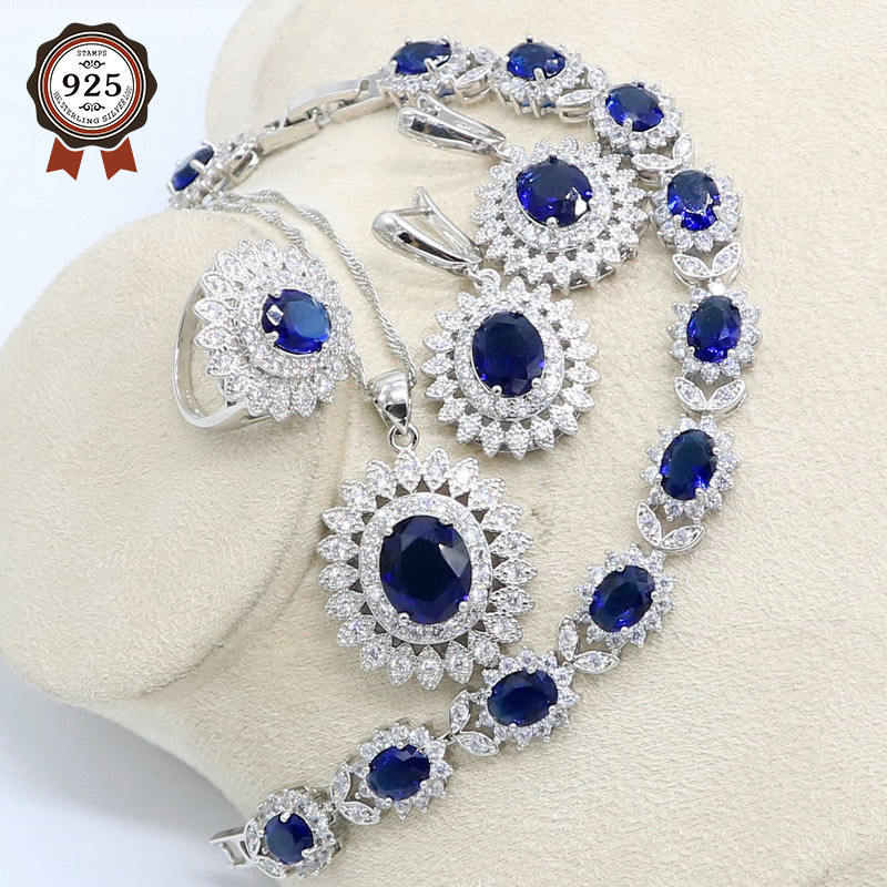 Natural Blue Zircon White Crystal Silver Color Jewelry Sets For Women Party Earrings/Pendant/Necklace/Rings/Bracelet