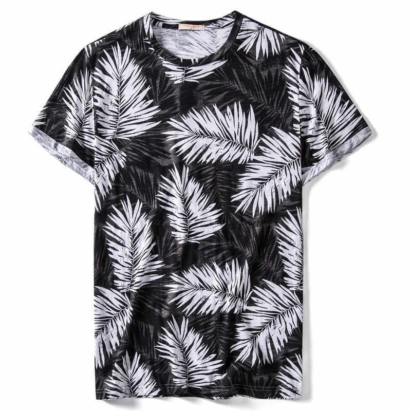 Verano 2020 nueva 100% de algodón de manga corta de impresión de la camiseta de los hombres de alta calidad Hawaii Beach Style Mens Tshirts Streetwear camiseta hombres