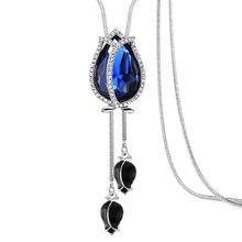 Silver Snake Chain Flower Pendant Necklace Long Necklaces For Women Crystal Jewelry Sweater Woman Winter New 2019 Hot