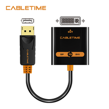 Cabletime Display Port To DVI Adapter Male To Female Aktif Displayport DP untuk DVI Extention 1080P 3D untuk HDTV PC Proyektor N108(China)