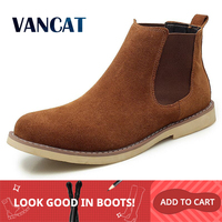 New Winter Warm Plush Men Boots High Quality Cow suede Men Chelsea Boots Non slip Snow boots Handmade Ankle Boots Big Size 47