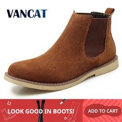 Novo inverno quente de pelúcia botas de alta qualidade botas de camurça de vaca homens chelsea botas de neve antiderrapante botas de tornozelo artesanal tamanho grande 47