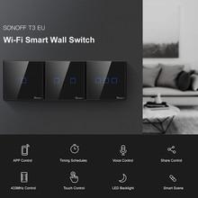 SONOFF T3 TX SmartSwitch WiFi Wall สวิทช์สัมผัสกับขอบบ้าน 433 RF ระยะไกล/เสียง/APP/สัมผัสควบคุมทำงานร่วมกับ Alexa EU