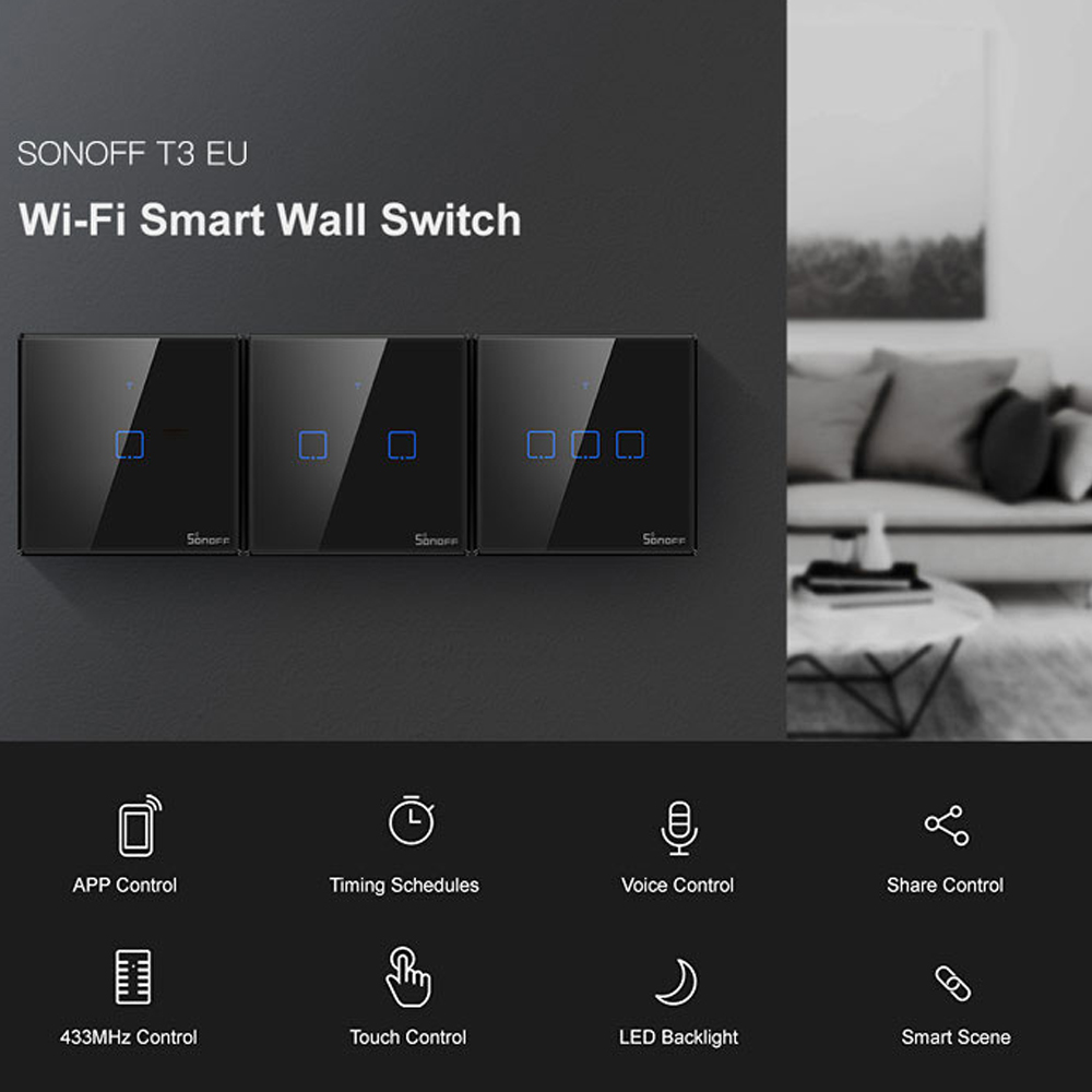SONOFF T3 TX SmartSwitch Wifi Wall Touched Switch With Border Home  433 Remote RF/Voice/APP/Touching Control Work With Alexa EUHome Automation Modules   -