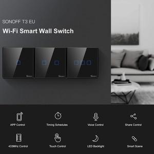 Image 1 - SONOFF T3 TX SmartSwitch Wifi ścienny przełącznik dotykowy z obramowaniem Home 433 zdalny RF/głos/APP/sterowanie dotykowe praca z Alexa EU