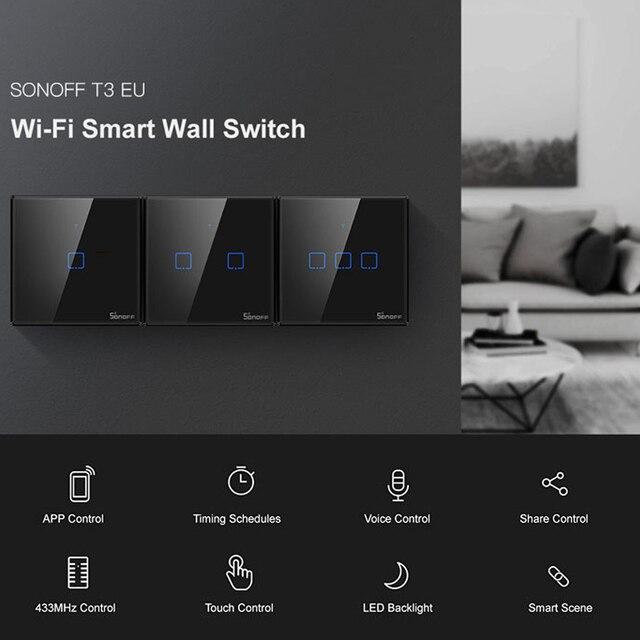 SONOFF T3 TX SmartSwitch Wifi ścienny przełącznik dotykowy z obramowaniem Home 433 zdalny RF/głos/APP/sterowanie dotykowe praca z Alexa EU