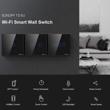 Sonoff T3 Tx Smartswitch Wifi Muur Aangeraakt Schakelaar Met Grens Thuis 433 Afstandsbediening Rf/Voice/App/Aanraken controle Werk Met Alexa Eu