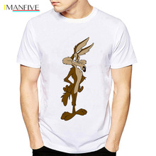 2019 Newest Wiley Coyote T Shirt men Looney Tunes Road Runner Cartoon Movie tshirt Funny mens Casual tops Clothing