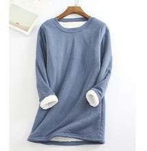 Outono inverno camiseta feminina pulôver o pescoço manga longa femmle solto plus size camisa quente feminino longo adicionar t de pelúcia topos
