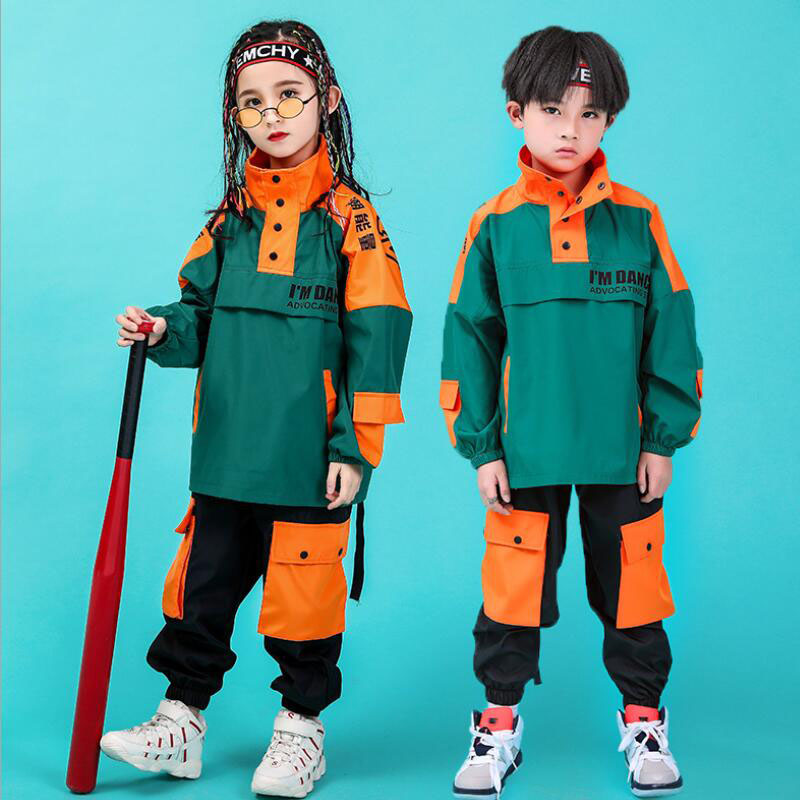 Kids Performance Hip Hop Clothing High Neck Jacket Top Running Jeans Pants For Girl Boy Jazz Dance Costume Clothes Wear