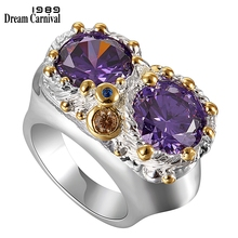 DreamCarnival 1989  Purple Zircon Rings for Women Wedding Must Have 2019 Jewelry Owl Big Eyes Design Silver Gold Color WA11754