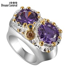 DreamCarnival 1989 Purple Zircon Rings for Women Wedding Must Have 2019 Jewelry Owl Big Eyes Design Silver Gold Color WA11754(China)