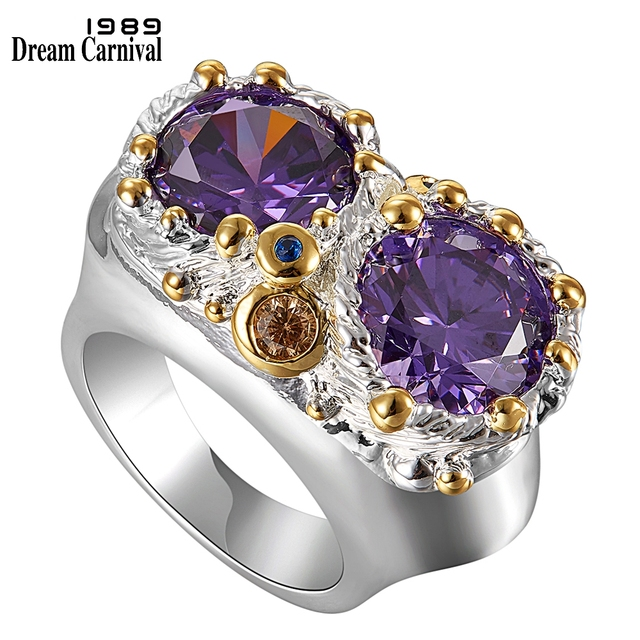 DreamCarnival1989 Purple Zircon Rings for Women Wedding Must Have 2019 Jewelry Owl Big Eyes Design Two Tones Color WA11754