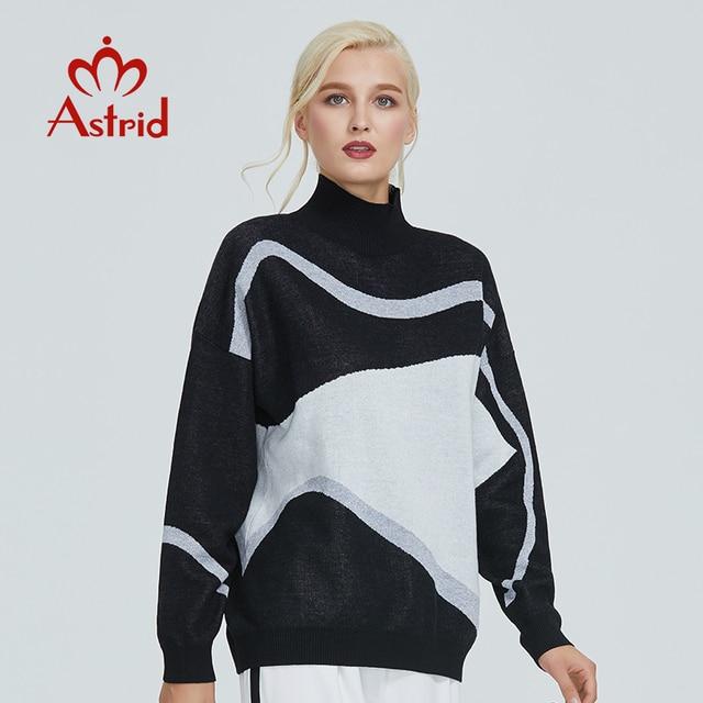 استريد 2019 خريف جديد وصول رولكراجين البلوز damen جودة عالية أعلى أسود أبيض جديد فاشي ملابس حريمي السيدات MS 012