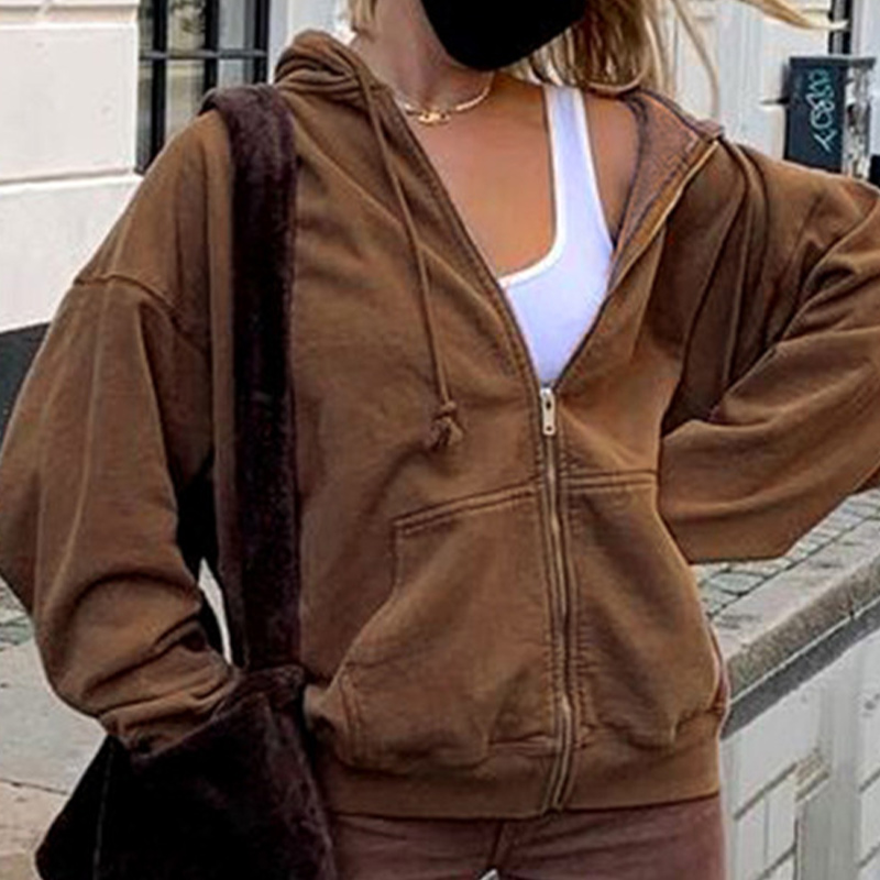 Zip-up Women Korean Style Hoodies Vintage Solid Color Long Sleeve Oversized Hooded Sweatshirt Lady Women Casual Large Coats 16