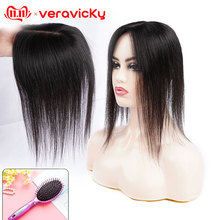 14 Human Hair Topper Breathable 10*13 Silk Base Hair Wig for Women with Clip In Hair Toupee Natural Remy Hair Piece Hairpiece