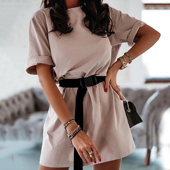 Summer Casual Women Dresses O Neck Loose Short Sleeve Oversize Sports Fashion Leisure Dress Khaki Including Belt