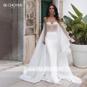 Image 3 - BECHOYER zarif boncuklu saten düğün elbisesi sevgiliye uzun kollu Mermaid 2 In 1 mahkemesi tren gelin kıyafeti Vestido de Noiva N170