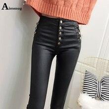Plus Velvet Women Fashion High Waist PU Leather Trousers Button Skinny Pencil Pants Girls Faux Leather Autumn Winter New Pants button front pu pants