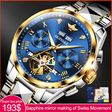 Men Watch Mechanical Skeleton Gift OUPINKE Tourbillon-Design Automatic Brand Noctilucent